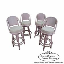Clark Casuals Vintage Set of 4 Painted Rattan Bar Stools