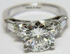 3.20 Carat Ladies Round Brilliant Diamond Ring 18k White Gold GIA Certificate 5