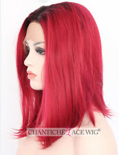 Best Short Bob Ombre Lace Front Wig Synthetic Hair Red Straight Heat Friendly UK