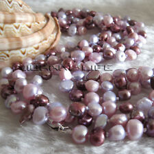 "52"" 5-6mm Multi Color Baroque Freshwater Pearl Necklace Fashion Jewelry"