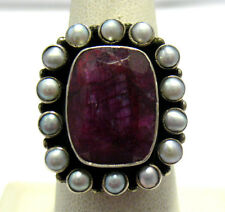 LARGE STERLING SILVER GENUINE RUBY PEARL RING SIZE 7.5  10.7 GRAMS