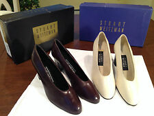 Lot of 2 Pairs STUART WEITZMAN White & Brown Leather HEELS/SHOES/PUMPS Size 5.5
