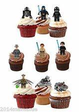 33 PRECUT STAR WARS STAND UP EDIBLE 3D CUPCAKE CAKE WAFER RICE CARD TOPPERS