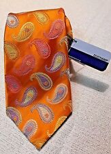 RARE Duchamp London Tie Blue Label Multi-color Orange Paisley NWT Easter Spring