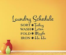 Laundry Schedule Wall Decal Room Quote Vinyl Sticker Removable Mural Decor 66quo