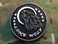 Lone Wolf Biker Black PVC Hook Military Morale Patch Biker Nomad