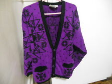 PURPLE V Neck Acrylic 4 Button Cardigan by In The Park Size MEDIUM