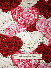Rose Heart Fabric - Flower Valentine Sweet Wilmington Bed Of Roses Floral - Yard