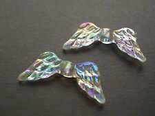 50 AB Clear ANGEL WINGS Bead acrylic plastic loose beads FREE SHIPPING
