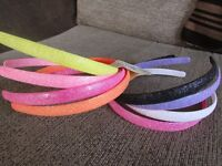 Pack 4 coloured plastic alice bands glitter neon pastel headband 1.2cm hairband