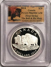2014 Canada $20 Proof Silver Bison Coin, The Bull and his Mate, PCGS PR69 DCAM
