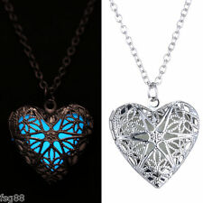 New Glow in the Dark Stainless Steel Chain Heart Shape Locket Necklace Pendant