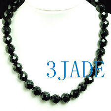 """18"""" Faceted Black Onyx 14mm Beads Necklace"""
