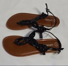 Cherokee Girl's Florense Thong Sandals Black Size 3 NEW IN BOX SHOES FLIP FLOP