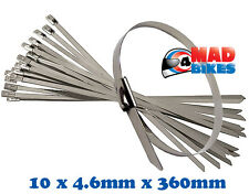 10 X MARINE GRADE STAINLESS STEEL CABLE TIES FOR MOTORCYCLE EXHAUST WRAP ETC