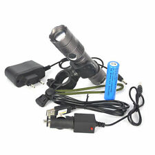 4000LM CREE XM-L T6 LED Flashlight Zoomable Torch + 18650 USB Charger Bike Mount
