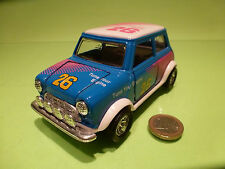 VINTAGE MORRIS MINI COOPER - TUNE ENGINE - BLUE 1:24? RHD - RARE - GOOD PULLBACK