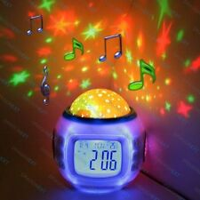 US Sky Star Night Light Projector Lamp Bedroom Alarm Clock W/music Gift