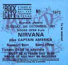 NIRVANA REPRO 1991 NOTTINGHAM CONCERT TICKET . KURT COBAIN NEVERMIND