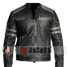 Mens Biker Vintage Motorcycle Distressed Black Retro Winter Leather Jacket