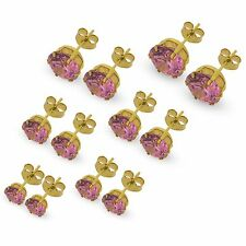9CT GOLD CZ STUD EARRINGS ROUND WHITE PINK LILAC AMETHYST BLACK CUBIC ZIRCONIA