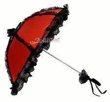 Red Black Children Flower Girls Battenburg Lace Parasol Wedding Party Umbrella