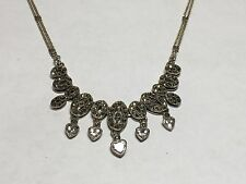 Sterling Silver Marcasite & Cubic Zirconia Neclace