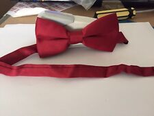 Straight Bow Tie  Uniform Works Burgandy Red Clip on