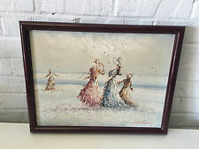 French Marie Charlot Impressionist Style Oil Painting of Women on Beach By Water