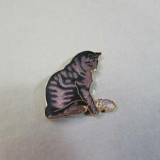Two Fish Cloisonne Cat & Mouse Brooch (16104620A)
