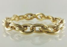 18k Yellow Gold Hollow Textured Bracelet 9.5""