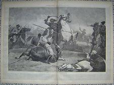 Combat Russian Cossacks & Turkish Bashi Bazouks Harper's Weekly 1877 Original