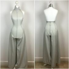 ORIGINAL VINTAGE 1970s JUMPSUIT Silver GLAM ROCK HALTER BELL BOTTOM PALAZZO  XS