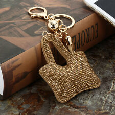 Crystal Leather Handbag Keyring Rhinestone Charm Pendant Keychain Key Bag Gold