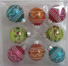 Celebrate It Christmas Merry Minis Mini Glass Ornaments Pink Teal Orange 8 pc