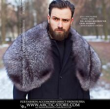 New Russian Silver Grey Fox Fur Pelerine Cape Collar for Real Men Arctic-store