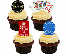 Poker Night Edible Cupcake Toppers, Stand-up Cake Decorations, Male Birthday Men