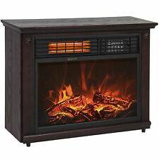 Large Room Infrared Quartz Electric Fireplace Heater Dark Walnut Finish Rem