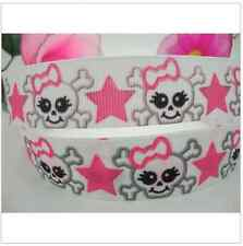 "1 meter, 22mm 7/8"" skullcandy monster Grosgrain Ribbon Gift Birthday Craft"
