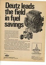 Original 1974 Deutz Tractor Magazine Ad - Leads the Field in Fuel Savings