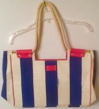 LILLY PULITZER Blue and White Striped Canvas Tote Pink Accents