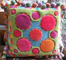Mackenzie Childs OOAK Custom Made Designer Felted Needlepoint Pillow w/ Tassels
