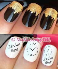 NAIL ART SET #412 ITS SHOW TIME CLOCK WATER TRANSFERS/DECAL/STICKERS & GOLD LEAF