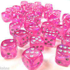 Chessex Dice Block d6 36pcs 12mm - Borealis Pink w/ Silver - 27804 - Free Bag