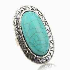 Vintage Oval Nature Turquoise Smoky Tibetan Silver Finger Cocktail Ring Harness