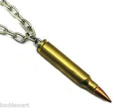 Real Brass Bullet Pendant with Chain Necklace
