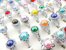 Wholesale Lots Jewelry 20pcs Pearl Silver Plated Rings New Free Shipping J219