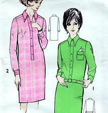 "RARE Vintage 60s Mod DRESS Sewing Pattern UNUSED Bust 40"" Sz 16 RETRO Shirtdress"