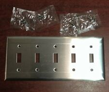 MCM Retro Chrome Stainless 5 Five Switch Gang Light Cover Plate Vintage NOS