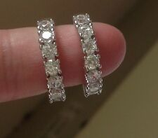 18K White Gold Diamond hoop Earrings   331